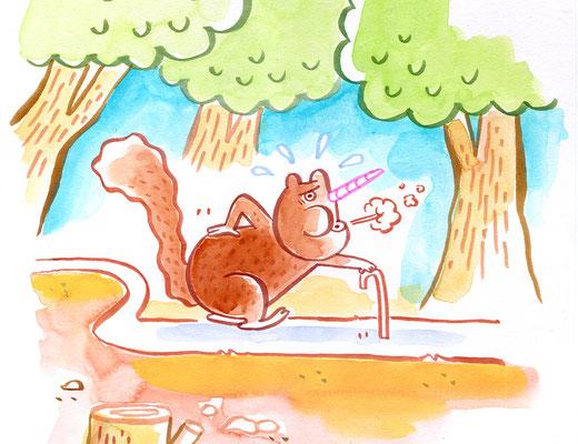 """Originalzeichnung """"Mühsam nähert sich das Einhörnchen"""""""