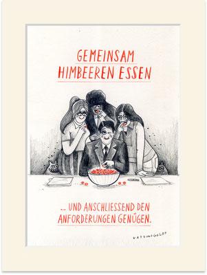 """Originalzeichnung """"Gemeinsam Himbeeren essen und anschließend den Anforderungen genügen"""""""