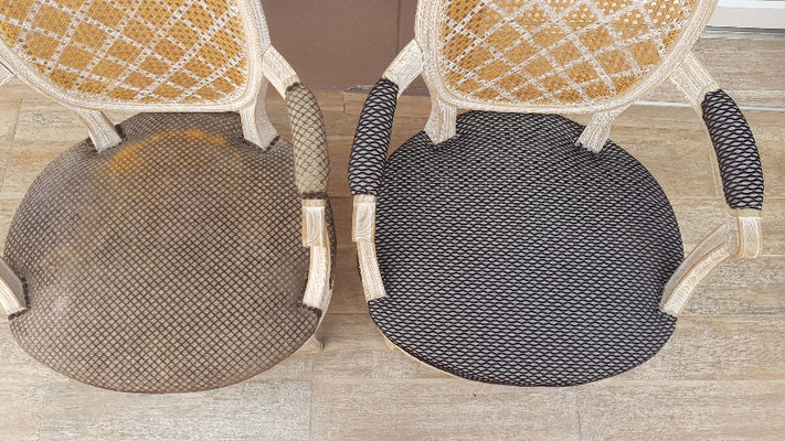 Fauteuil en tissu Avant / Après
