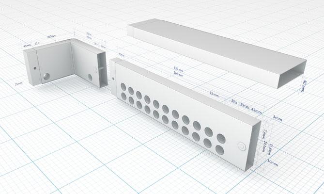 3D - Technische Darstellung /Ein Montageprofil mit Maßeinheiten