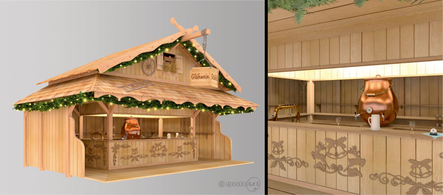 Kirmesstand - Glühwein / Entwurf Visualisation / Kunde: Bayernfesthalle Nord Hölzgen-Traber UG (haftungsbeschränkt) & Co KG