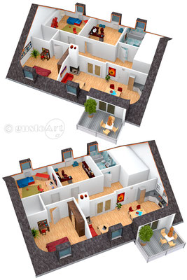3D Visualisation für KTC Immobilien Studio (Kundenwunsch Darstellung) #1 Dachgeschoss Apartment