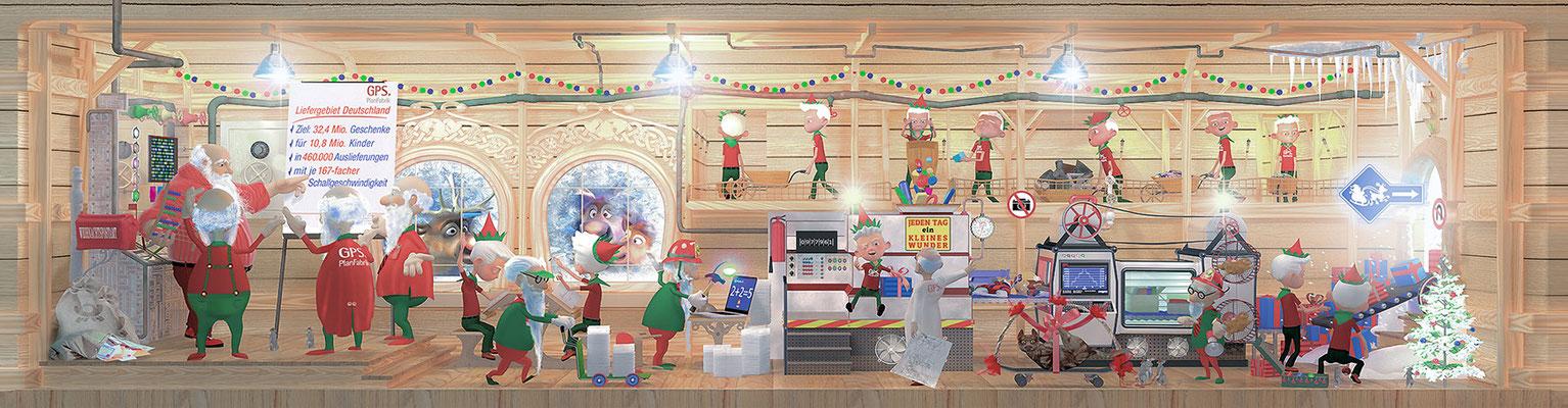 3D Weihnachtskarte für ein Logistikunternehmen / Kunde: GPS Planfabrik