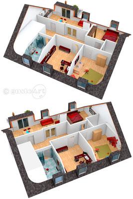 3D Visualisation für KTC Immobilien Studio (Kundenwunsch Darstellung) #2 Dachgeschoss Apartment