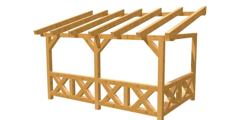 Bauplan Wand-Pergola 4,5m x 2,5m