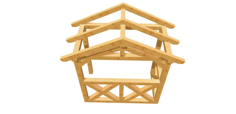 Vordach-Satteldach Holz 2,24m x 1,2m