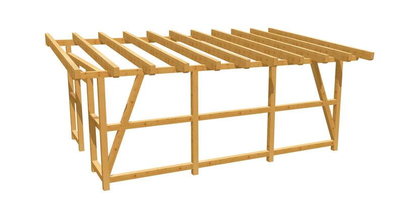 Holz Pergola Überdachung Bauplan 6m x 4m
