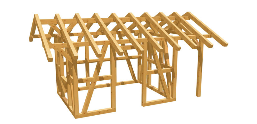 Fachwerk-Gartenhaus Bauplan 3,65m x 2,75m