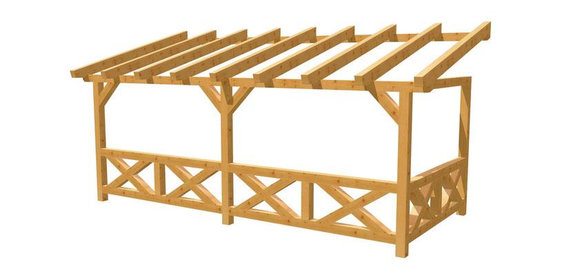 Wand-Pergola selber bauen Terrassenüberdachung 6m x 2,5m