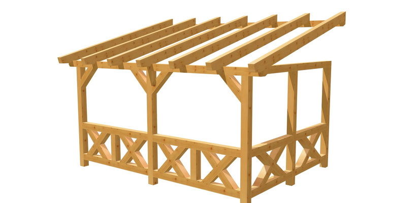 Wand-Pergola Bauplan 4,5m x 3m