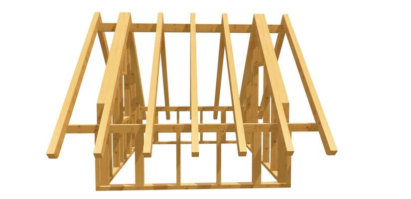 Gartenhaus mit Satteldach Bauplan 3m x 3,8m