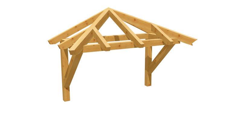 Bauanleitung Vordach-Walmdach 2m x 2,24m