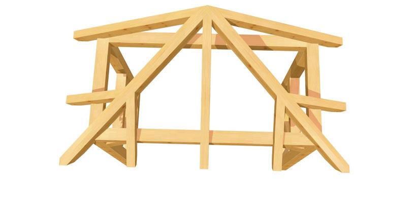 Walmdach Vordach selber bauen 2m x 2,24m