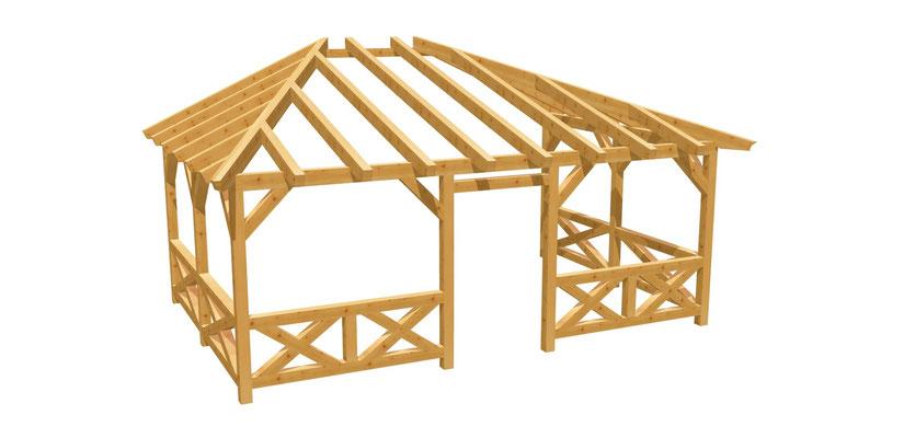 Terrassenüberdachung selber bauen Anleitung 6m x 4m