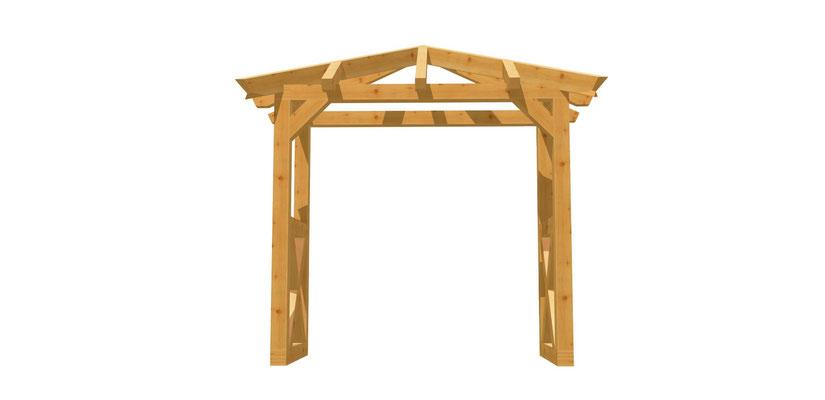 Vordach-Walmdach Holz