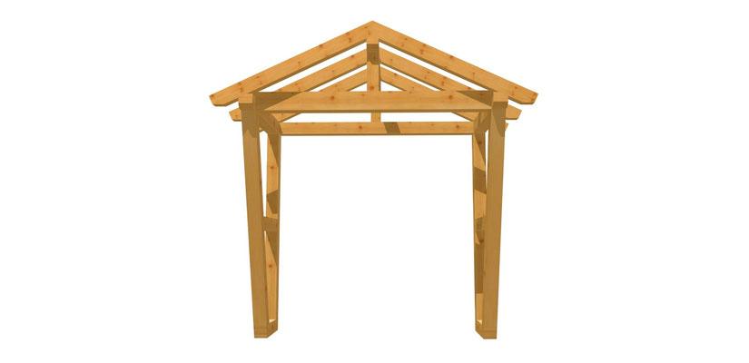 Vordach-Satteldach Holz Bauplan 2m x 2,24m
