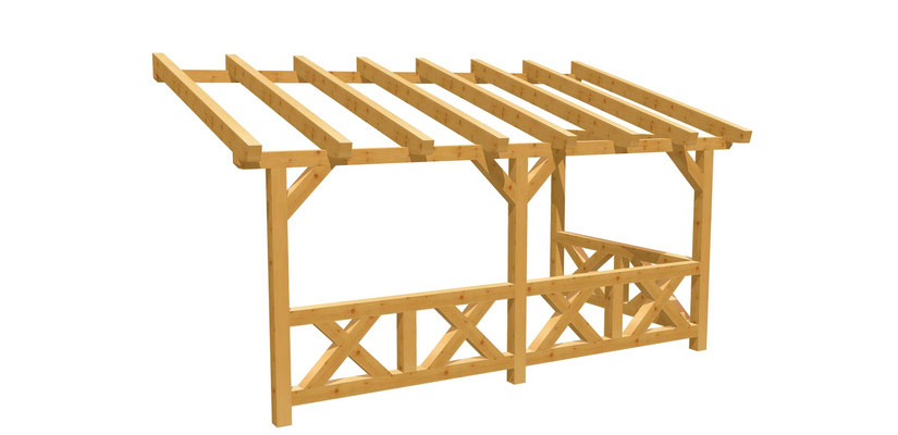 Bauanleitung Terrassenüberdachung Wand-Pergola 5m x2,5m