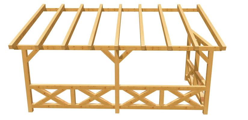 Wand-Pergola aus Holz