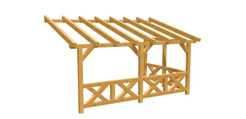 Bauplan Überdachung Wand-Pergola 5m x 3m