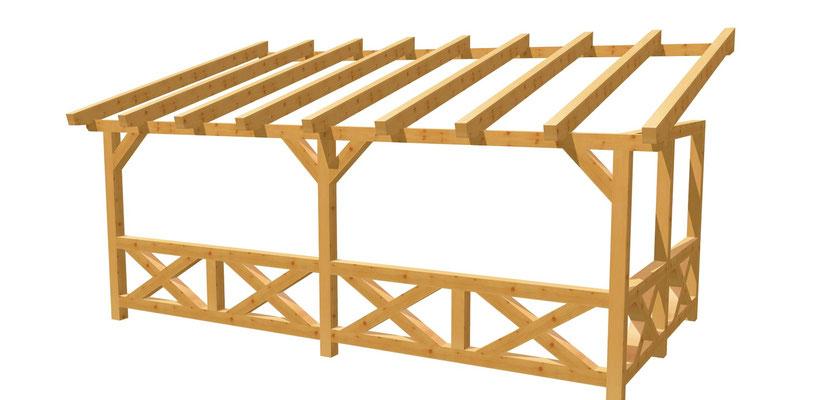 Bauplan Terrassenüberdachung Wand-Pergola 6m x 3m