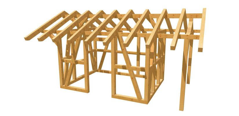 Fachwerk Gartenhaus selber bauen 3,65m x 2,75m