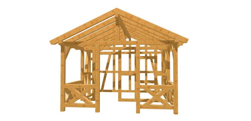 Fachwerk Haus Bauanleitung mit Terrasse 5m x 3,8m