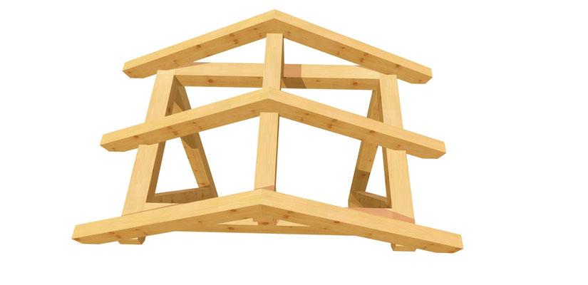 Vordach-Satteldach Bauanleitung 1,4m x 1,64