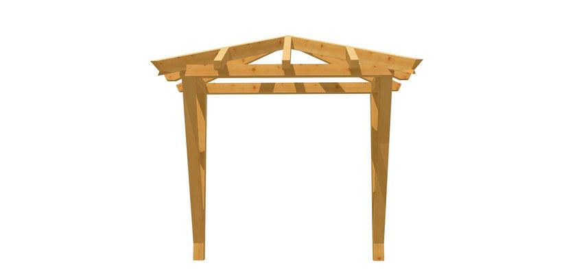 Vordach-Walmdach selber bauen 2m x 2,24m