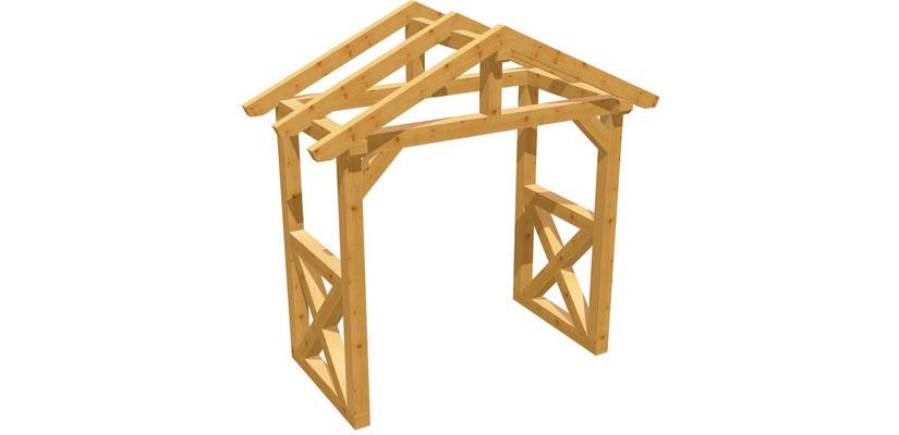 Bauplan Haustür Vordach Holz 2m x 2,24m