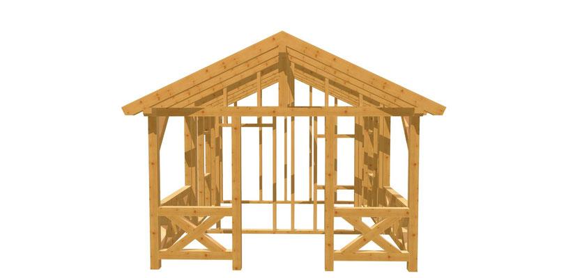 Gartenhaus mit Terrasse selber bauen 5m x 3,8m