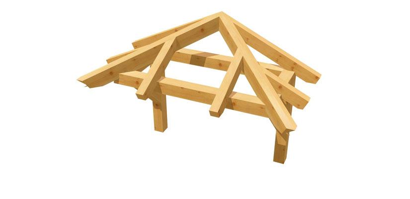 Bauplan Haustür-Vordach Walmdach 1,4m x 1,64m