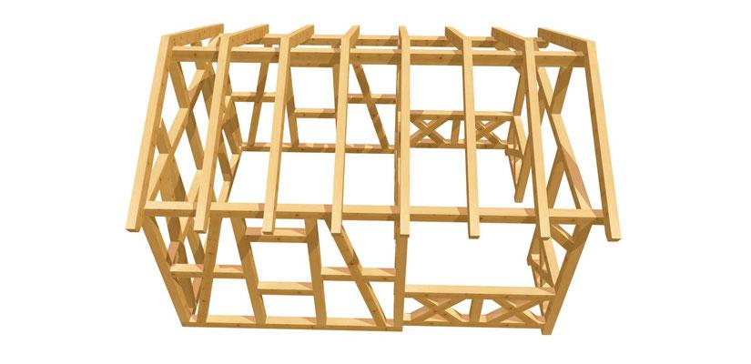 Gartenhaus Fachwerk DIY Anleitung mit Terrasse 5m x 3,8m