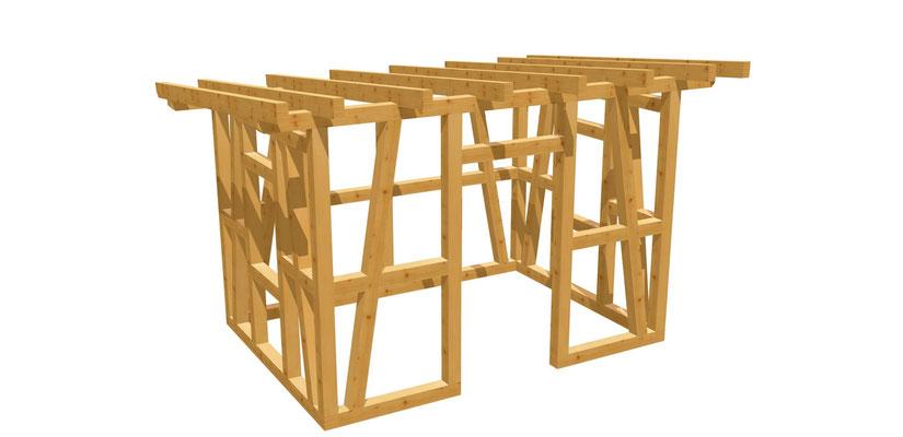 Bauplan Gartenhaus mit Schleppdach 3,5m x 2,5m