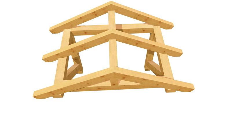 Vordach-Satteldach Plan 1,4m x 1,64m