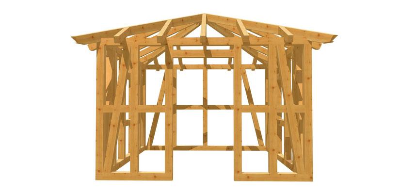 Gartenhaus Walmdach Bauplan 3,5m x 3,5m