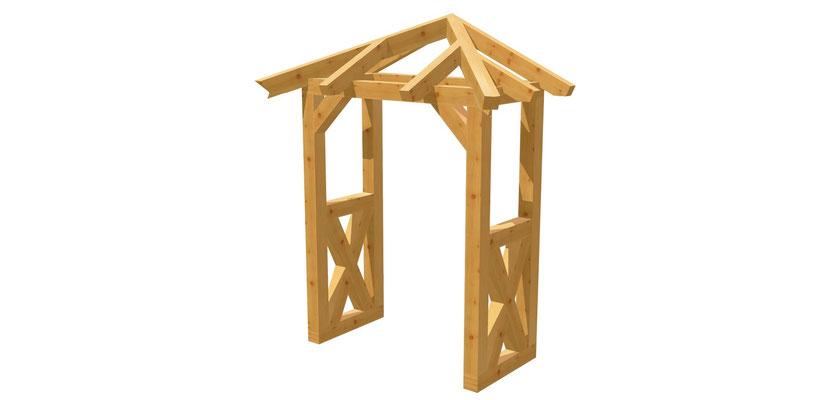 Walmdach-Überdachung selber bauen 1,4m x 1,64m