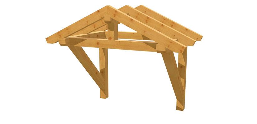 Vordach-Satteldach Bauplan 1,4m x 1,64m