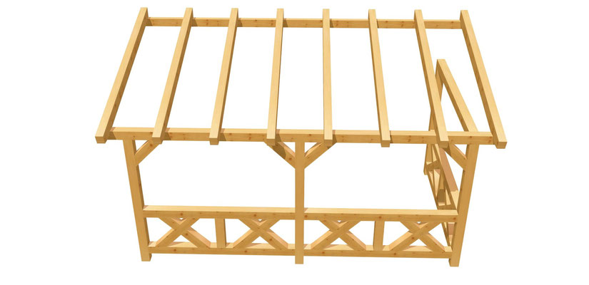 Terrassenüberdachung-Pergola selber bauen 5m x 2,5m