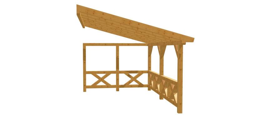 Holz Pergola Fachwek selber bauen 5m x 3m