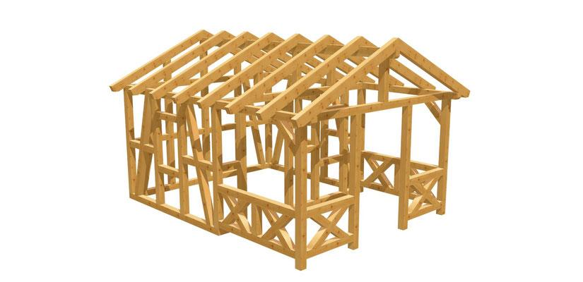 Bauplan Gartenhaus mit Terrasse 5m x 3,8m