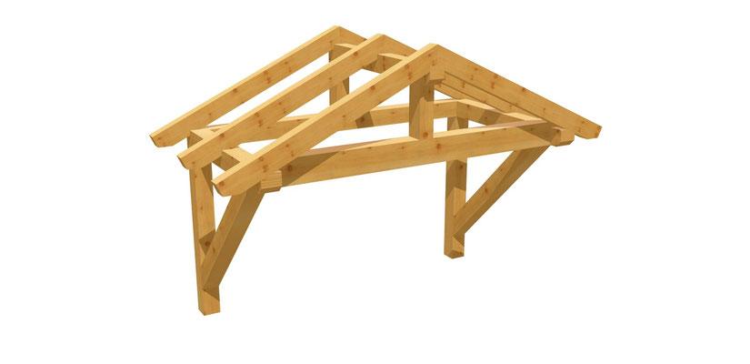 Satteldach Überdachung Bauplan 2m x 2,24m