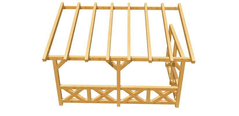 Wand-Pergola Fachwerk Bauanleitung 5m x 3m