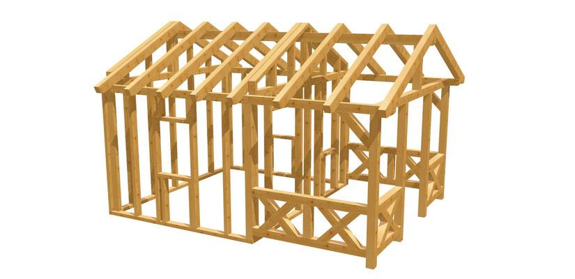 Gartenhütte mit Terrasse Bauplan 5m x 3,8m
