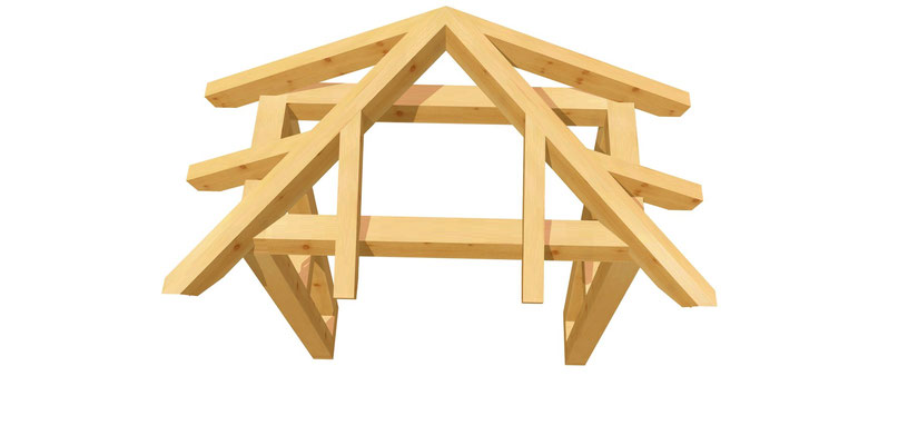 Holz Vordach-Walmdach