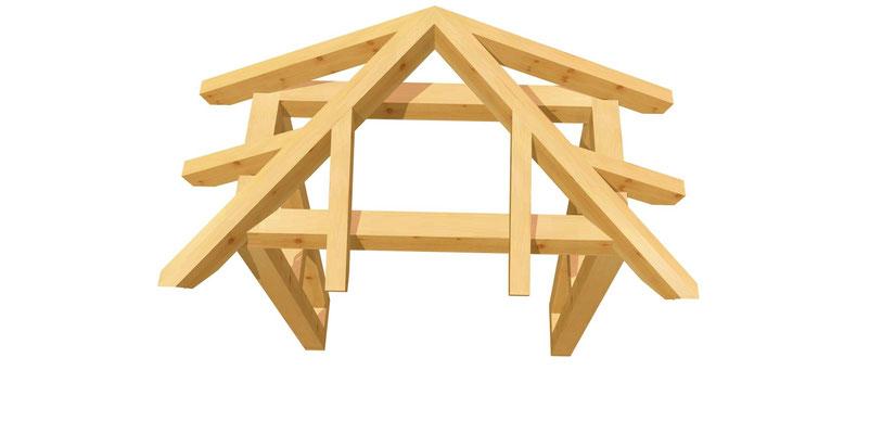 Holz Vordach-Walmdach Bauanleitung 1,4m x 1,64m