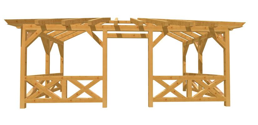 Fachwerk Pergola Bauplan 6m x 4m