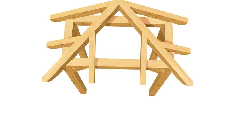 Vordach-Walmdach selber bauen 1,4m x 1,64m