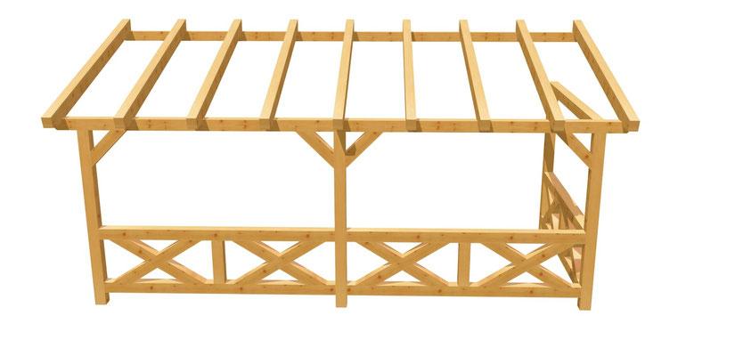 Wand-Pergola aus Holz Bauplan 6m x 2,5m