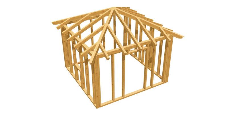 Gartenhütte Walmdach Bauplan 3,5m x 3,5m