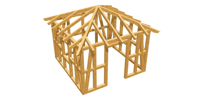 Walmdach Gartenhaus selber bauen 3,5m x 3,5m